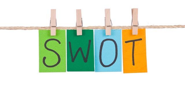 papéis coloridos formando a palavra swot