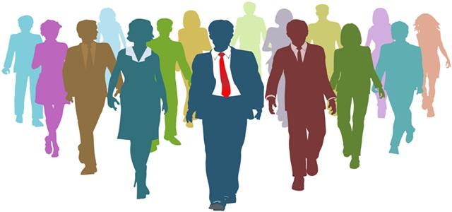silhueta de líderes e empresários