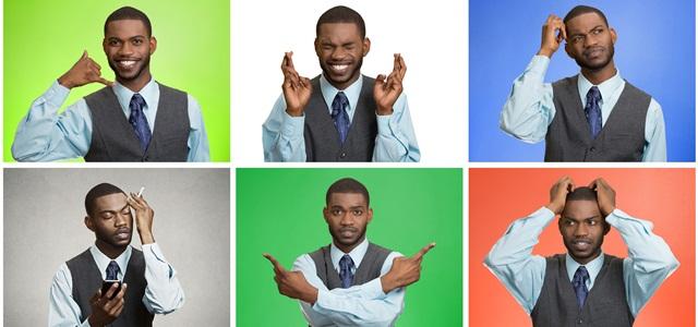 montagem com homem fazendo diferentes expressões
