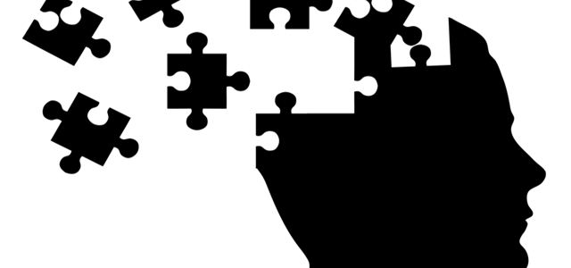 desenho de cabeça humana com peças de quebra-cabeças
