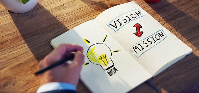caderno com visão e missão