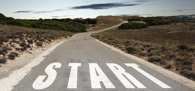 estrada com marca de começo