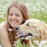 Menina deitada num campo de flores ao lado de seu cachorro.