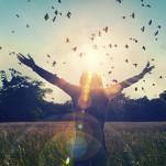 Mulher feliz no campo de flores, sob o sol vendo, pássaros