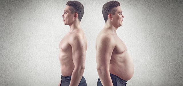 A mesma pessoa gorda e magra, mostrando a importância de se relacionar bem com sua imagem e ter uma boa autopercepção