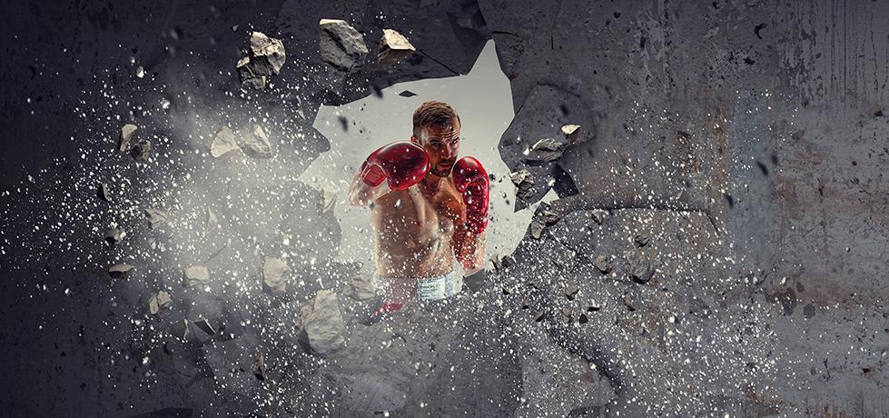 Boxeador mostrando como ser um vencedor
