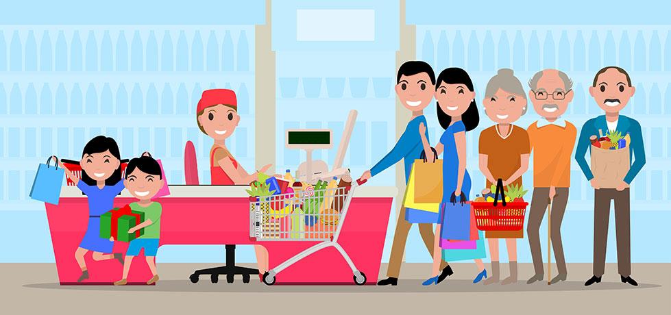 Clientes comprando no supermercado mostrando exemplo de economia comportamental