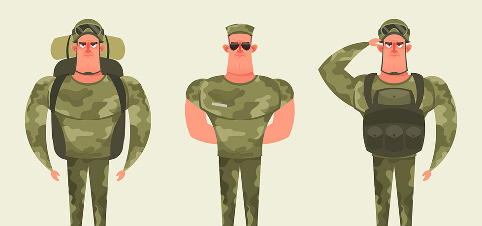 Soldados ilustrando o Marketing de Gerrilha