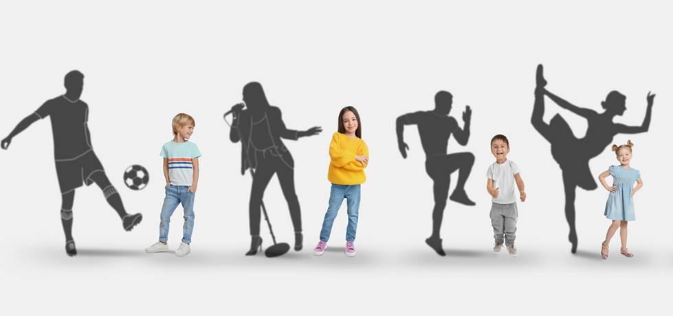 crianças lado o lado com suas sombras representando o seu respectivo sonho