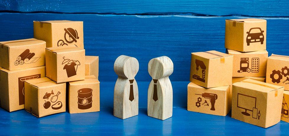 Figuras de pessoas conduzindo negociações comerciais e caixas.