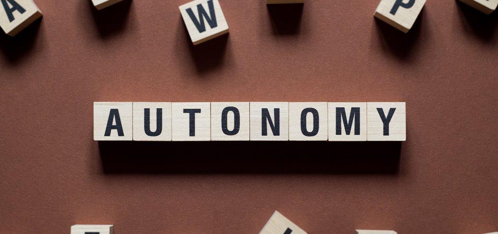 Palavra autonomia escrita em cubo de madeira
